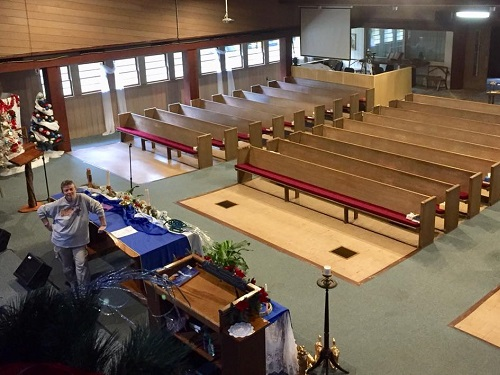 Sanctuary Decorated for Christmas at Cornerstone MCC